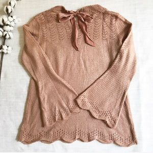 LC Lauren Conrad Pointelle Sweater Bell Sleeve A4